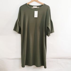 Amelia James Boutique Dress Army Green NWT Large